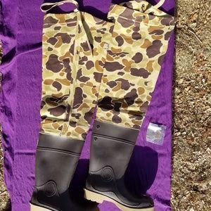 Cabela's Hip Wader Boots Men's Size 10 Brown Camo